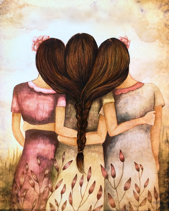 Tree sisters best friends  with brown hair art print