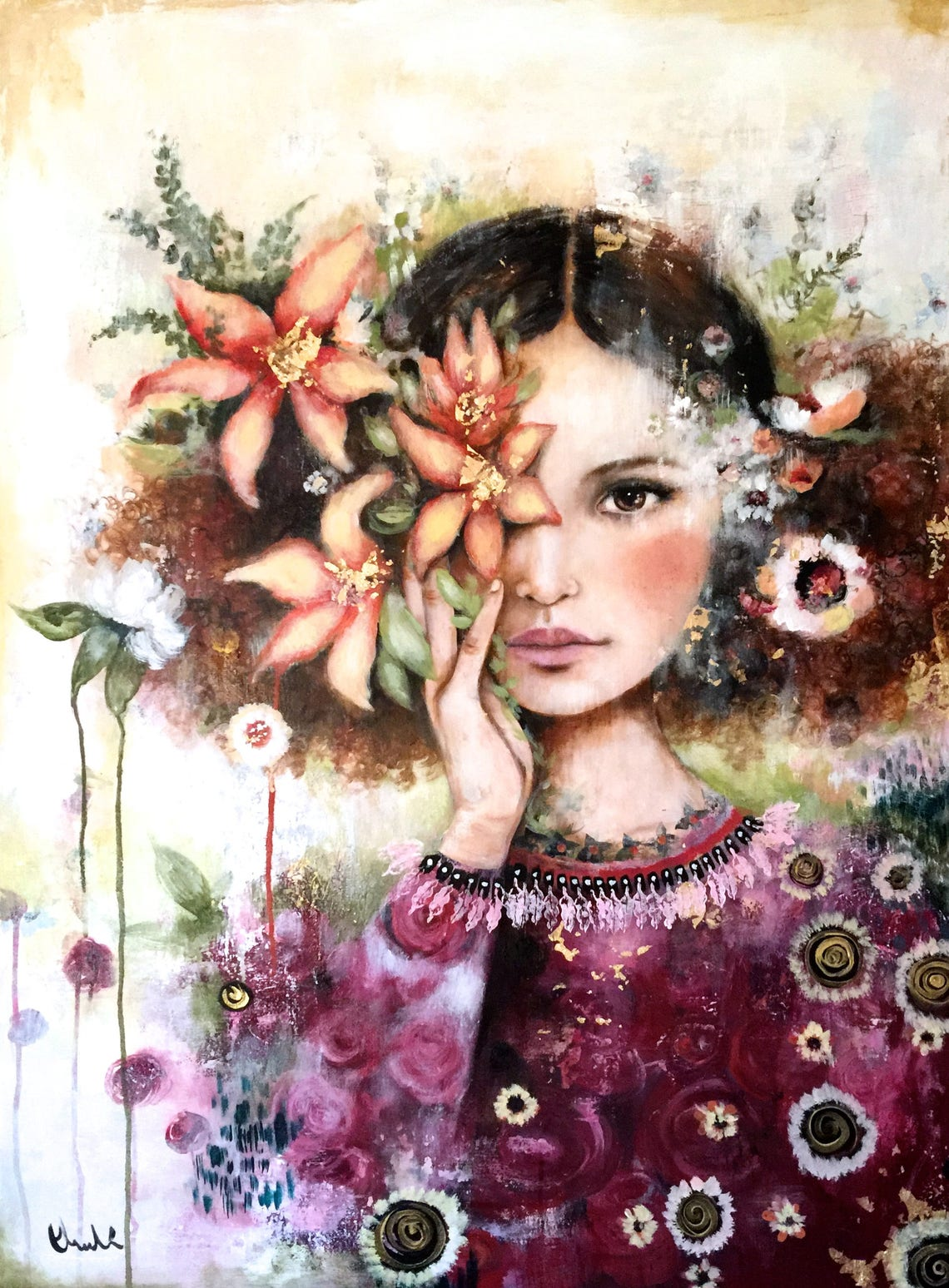 female empowermentart print drawing love portrait artwork image 0