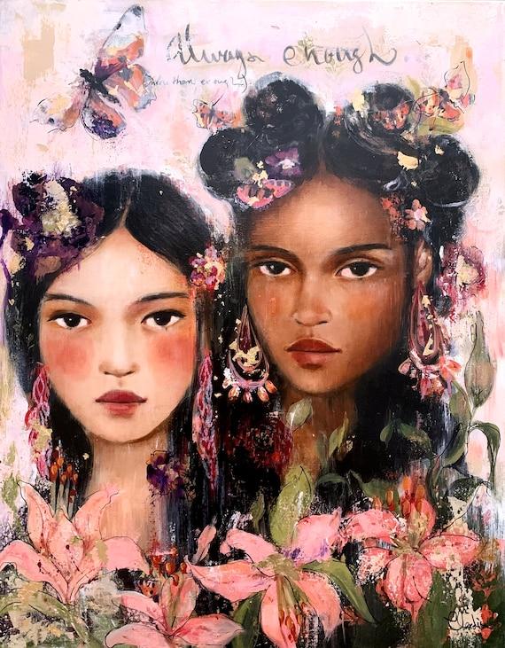 female empowerment, art print ,woman artwork,  portrait artwork ,claudia tremblay Listen to the song  art print