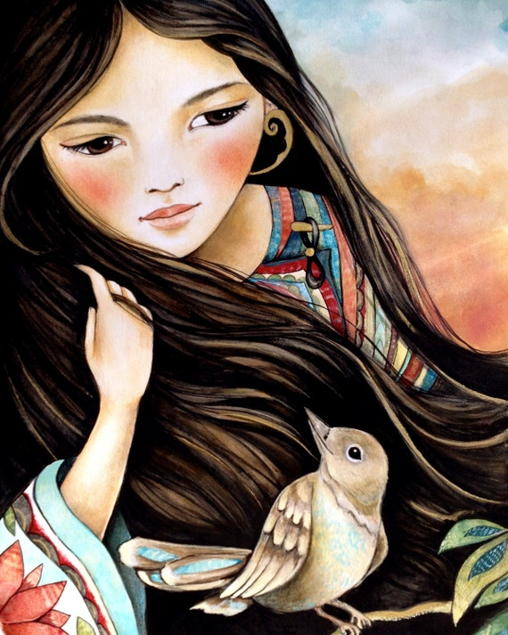 female empowerment, art print ,woman artwork,  portrait artwork ,claudia tremblay Our secret  art print
