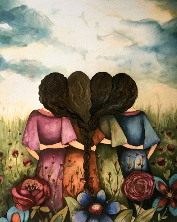 The four sisters black curly hair best friends brisdemaid present  art print
