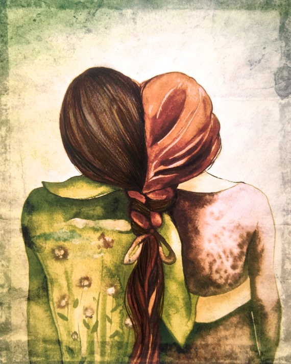 sisters art print red and brown hair gift idea