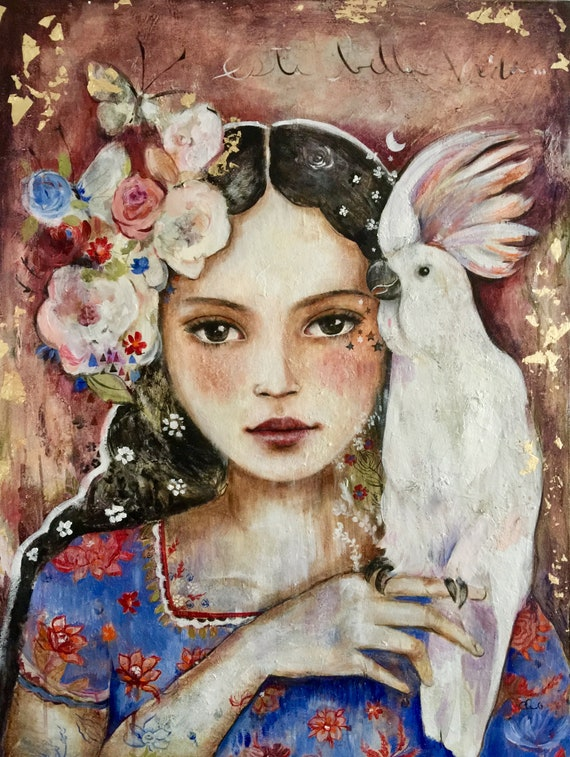 art print, wall decor, bohochic art, drawing, whimsical print, portrait artwork ,claudia tremblay latin girl with white exotic  bird