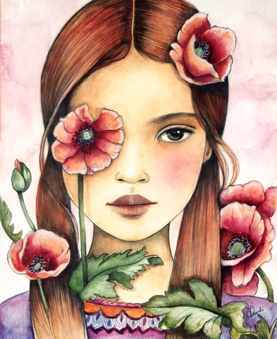 girl with poppies art print