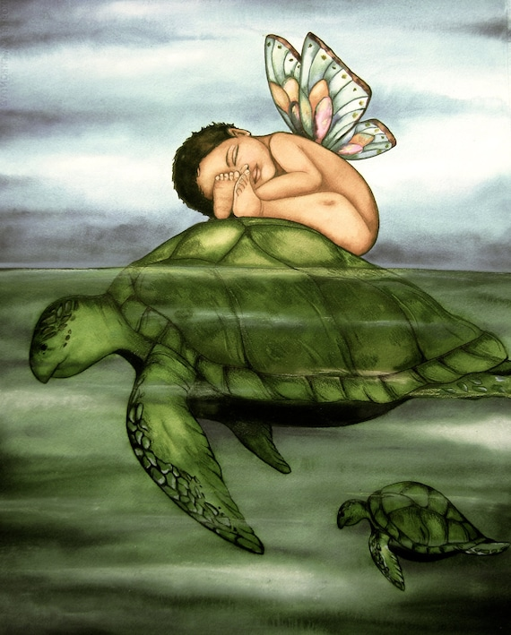 baby and turtle art print nursery  decor gift idea
