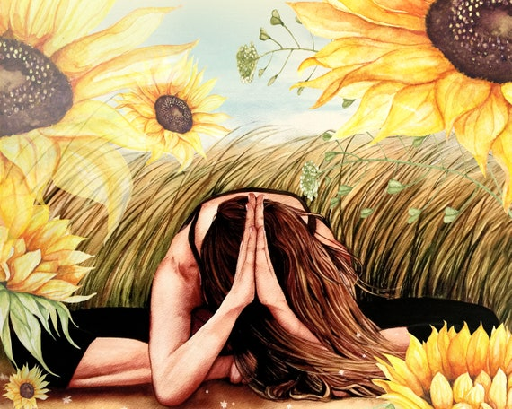 sunflower yoga art, sunflower meditation art