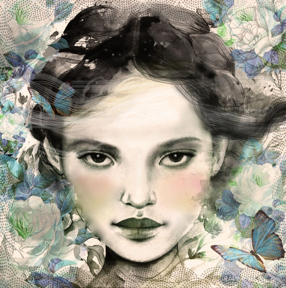 woman with blue  butterflies morpho