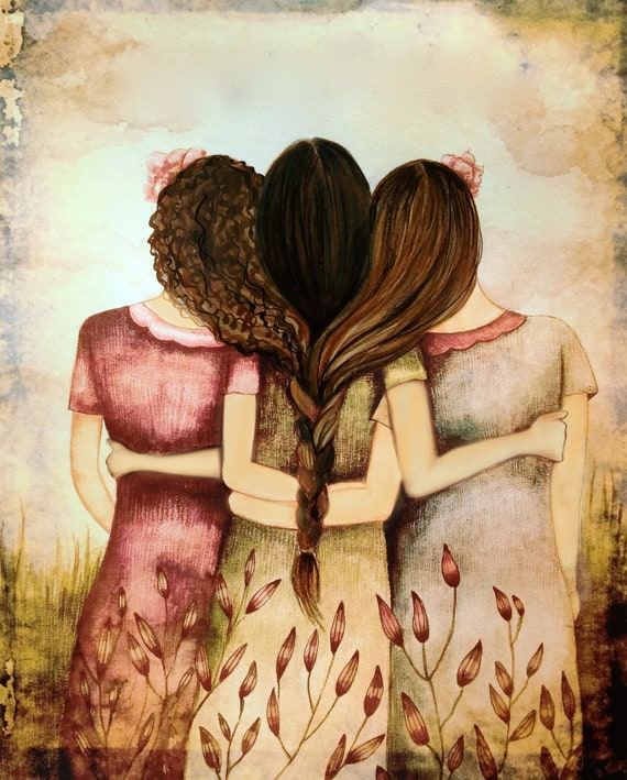 Sibling gift, side by side or miles apart, sisters will always be connected by heart with brown curly and blond hair