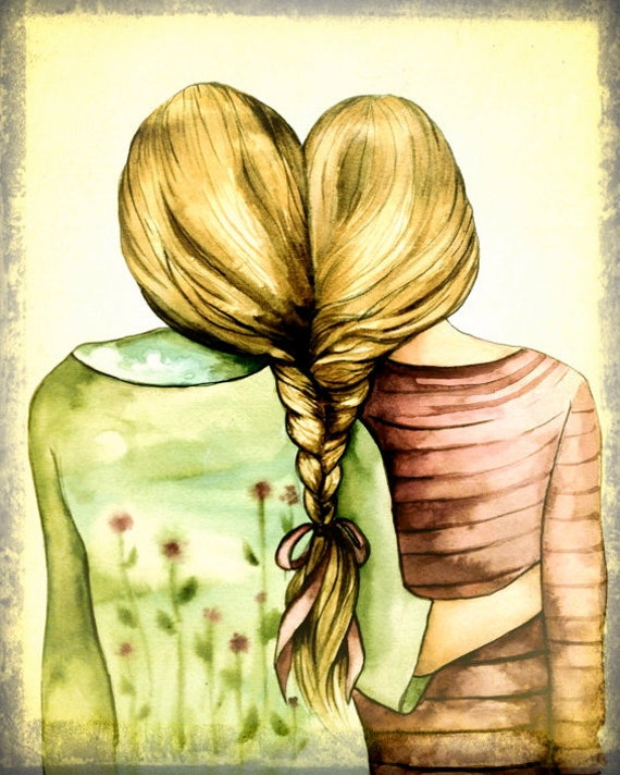 Sibling gift, two sisters, best friends art print with blond hair