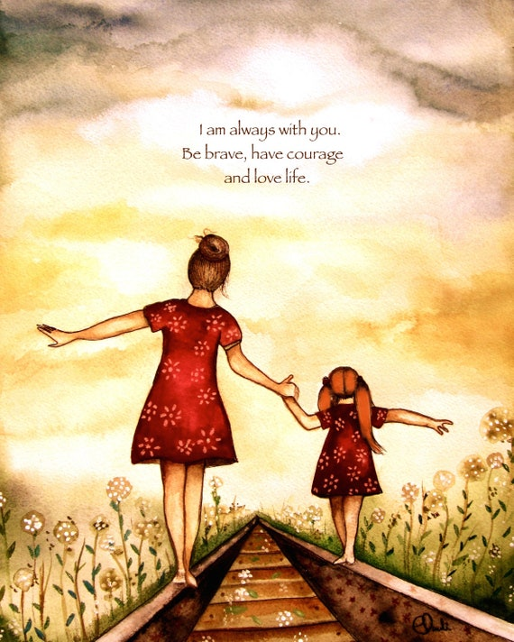 "Mother and daughter brown and red  ""our path"" art print, gift idea mother's day"