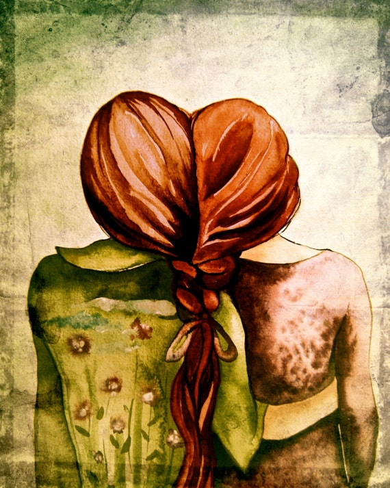 sister gift to sister, gift for friend, intertwined hair, braided hair ,wall art gift for sister Red hair sisters best friend art print