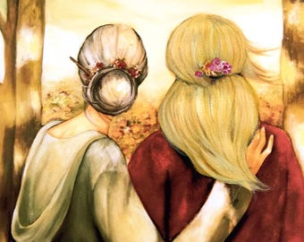 """Mother and blonde daughter """"our walk"""" art print"""