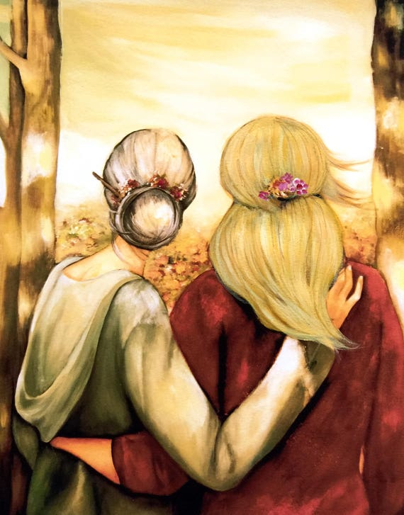 "Mother and blonde daughter ""our walk"" art print"