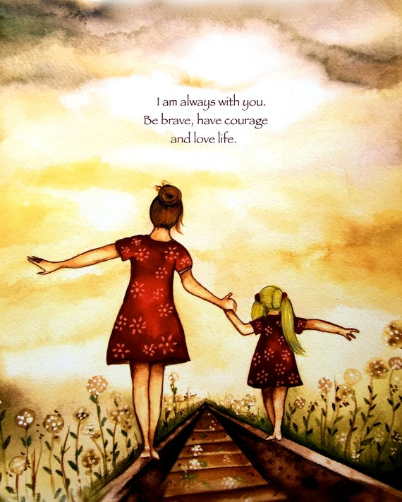 "gift for mom, wall art decor, love, artwork, gift for  daughter, brown Mother and blonde daughter ""our path"" art print with quote"