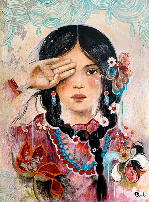 female empowerment,art print , Alesia, portrait artwork ,claudia tremblay flowers in her hair..Book in her hand