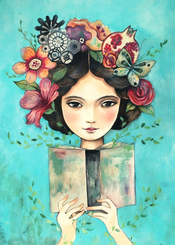 female empowerment,art print ,drawing, love, portrait artwork ,claudia tremblay flowers in her hair..Book in her hand