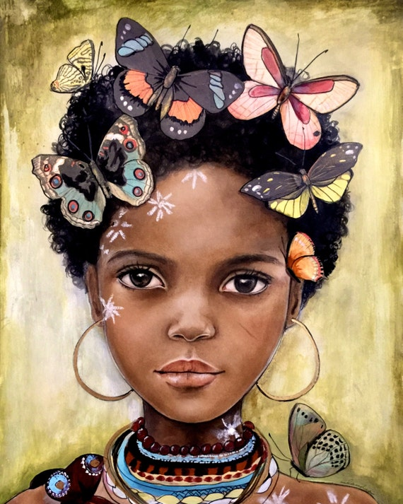 female empowerment, art print ,woman artwork,  portrait artwork ,claudia tremblay child from africa inspired with butterflies