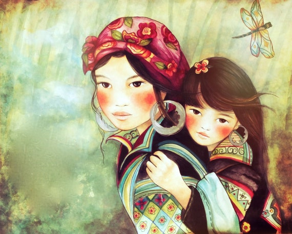 mother and daughter Vietnam Hmong people art print 8 x 10  or more inches
