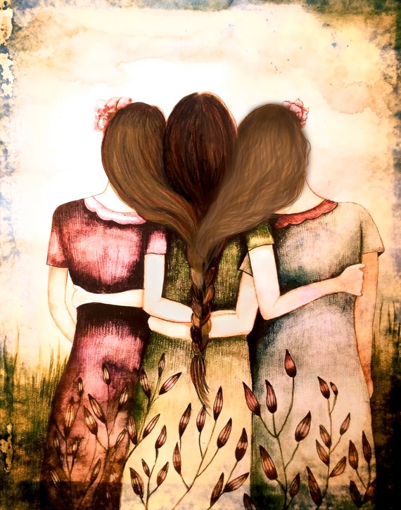 sister gift to sister, gift for friend, intertwined hair, braided hair ,wall art gift for sister Three sisters vintage 3 best friends