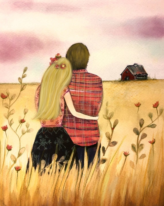couples gift, anniversary gifts for couple, anniversary gifts for parents, couple artwork, Lovers in the field