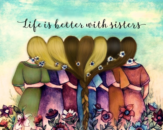 sister gift to sister, gift for 7 friends, intertwined hair, braided hair ,wall art gift for seven  sister Seven sisters best friend
