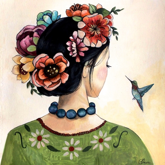 female empowerment,canvas , drawing, love, portrait artwork ,claudia tremblay Hummingbird art print