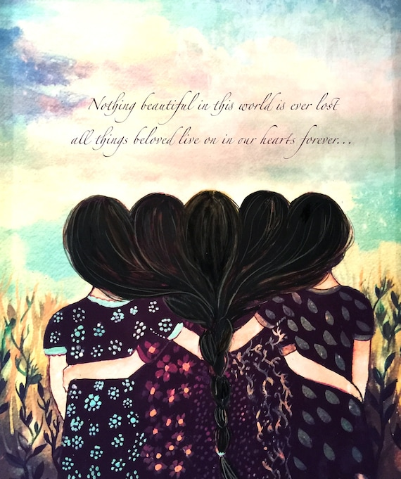 Five sisters best friends  with black hair art print and quote
