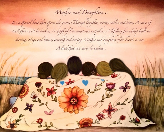 Mother and 5 sisters art print, gift mother, wall art print, bohochic decor, prints , gift idea for sisters