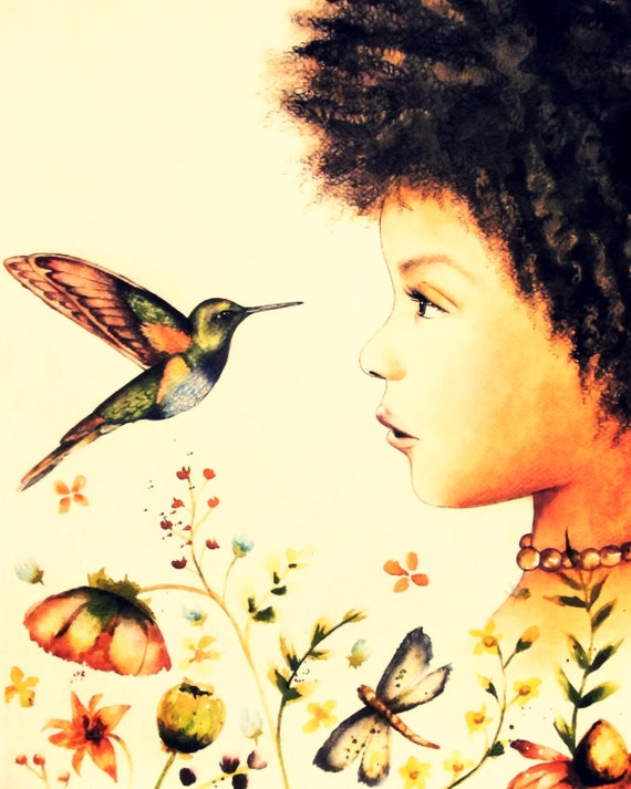 hummingbird, the visit art print child nursery decor