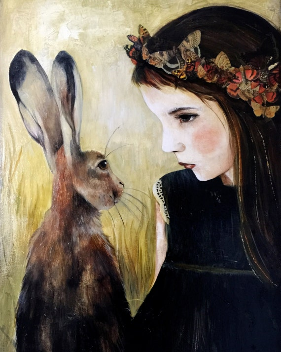 female empowerment,art print ,drawing, love, portrait artwork ,claudia tremblay Girl with hare art print