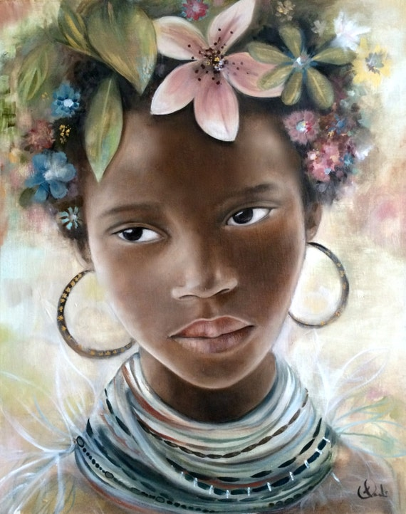 female empowerment,art print ,drawing, love, portrait artwork ,claudia tremblay child from africa, mursi tribes