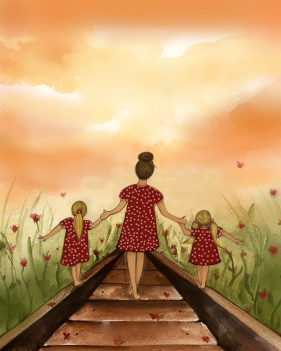 "gift for mom, 2 daughters, artwork, gift for  daughter, Mother and daughter ""our path"" art print"