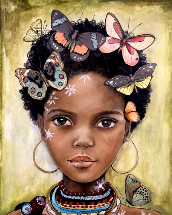 female empowerment, canvas art, african child artwork,  portrait artwork ,child from africa with butterflies