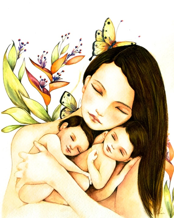 Mother and twins with brown hair art print