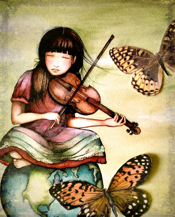 art print ,drawing, love, portrait artwork ,claudia tremblay the violinist's  gift  art print
