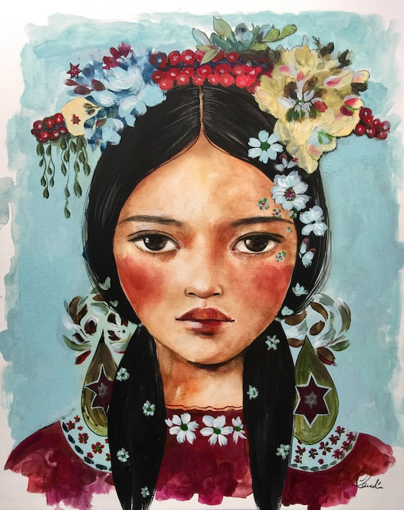 female empowerment,art print , LAIKA, portrait artwork ,claudia tremblay flowers in her hair..Book in her hand