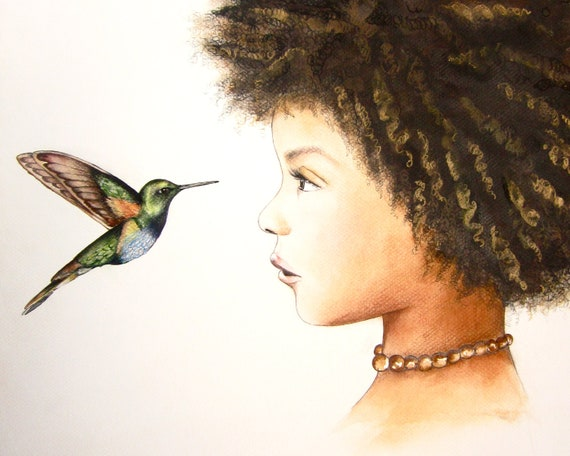 female empowerment, art print ,woman artwork,  portrait artwork ,claudia tremblay hummingbird, the visit  art print