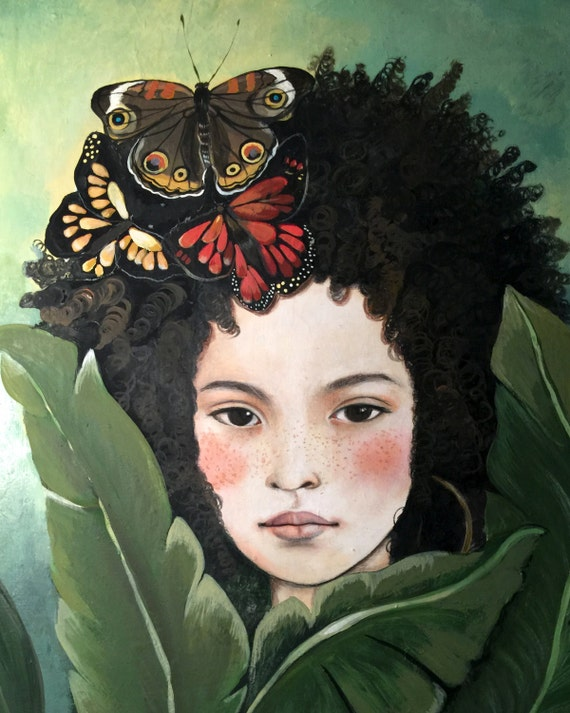 female empowerment, art print ,woman artwork,  portrait artwork ,claudia tremblay dreamy girl with giant leaves  art print