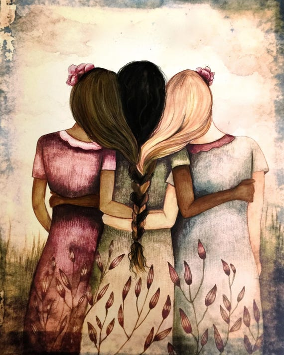 sister gift to sister, gift for friend, intertwined hair, braided hair ,wall art gift for sister three sisters