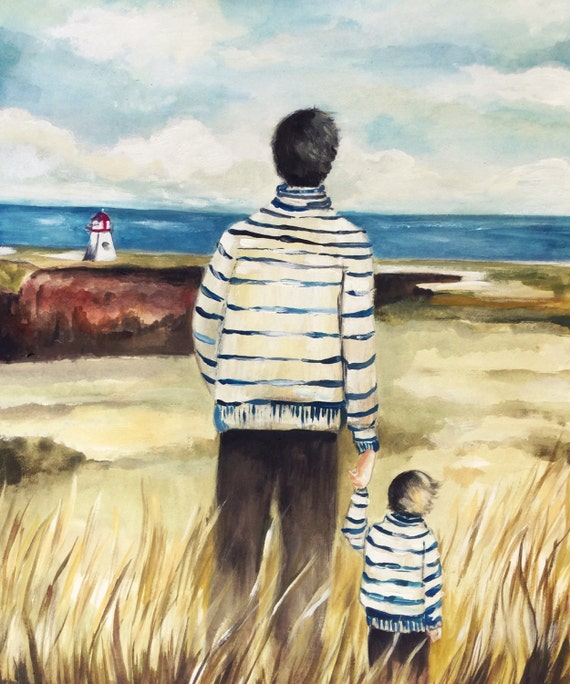 Father and son near the lighthouse
