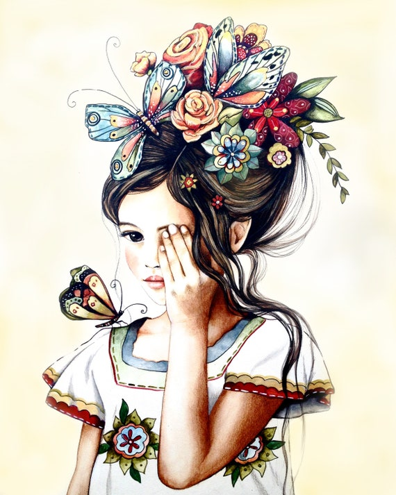 female empowerment,art print ,drawing, love, portrait artwork ,claudia tremblay flowers in her hair, vintage .