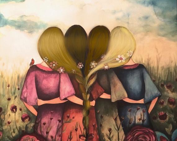 Four sisters best friendsbridesmaids present  art print