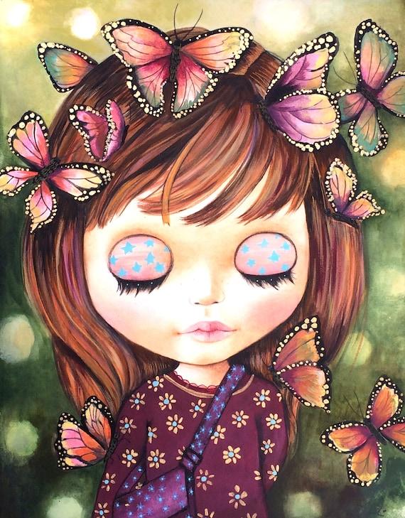female empowerment, art print ,woman artwork,  portrait artwork ,claudia tremblay Butterflies on her mind.