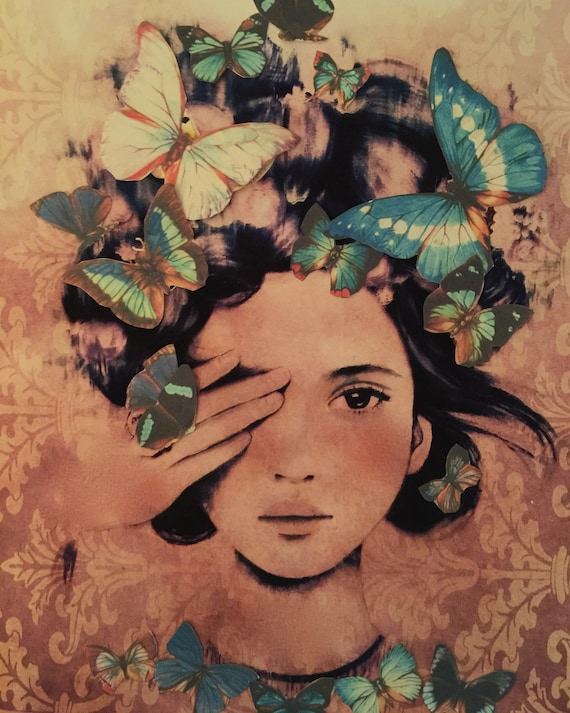 female empowerment,art print ,drawing, love, portrait artwork ,claudia tremblay butterflies in her hair, vintage .