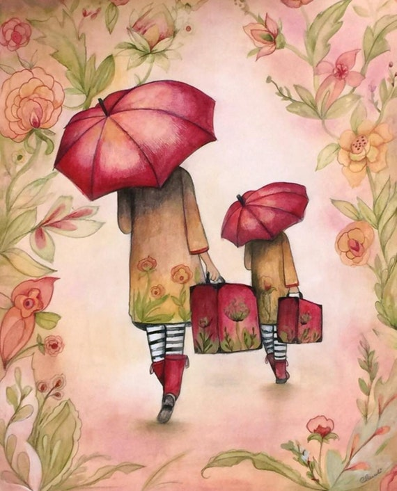 Mother's day with umbrella art print