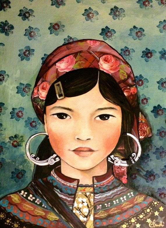 female empowerment,art print ,drawing, love, portrait artwork ,claudia tremblay Young girl  from vietnam, Hmong people art print