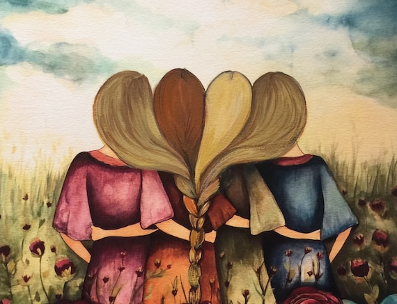 The four sisters best friendsbridesmaids present  art print red, blonde,brown