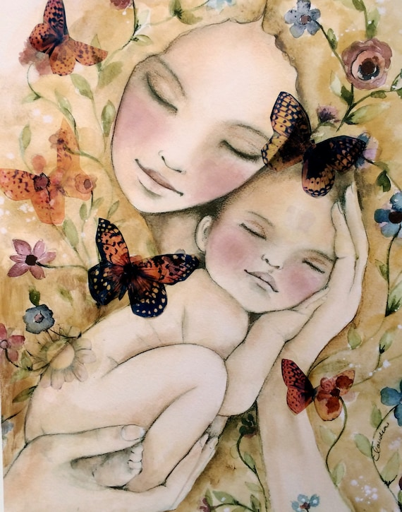 gift for mom, wall art decor, love, artwork, gift for  daughter, my new world art print with butterflies CANVAS ready to hang