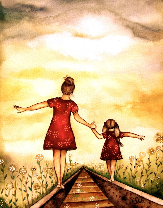 "gift for mom, wall art decor, love, artwork, gift for  daughter, Mother and daughter ""our path"" art print"