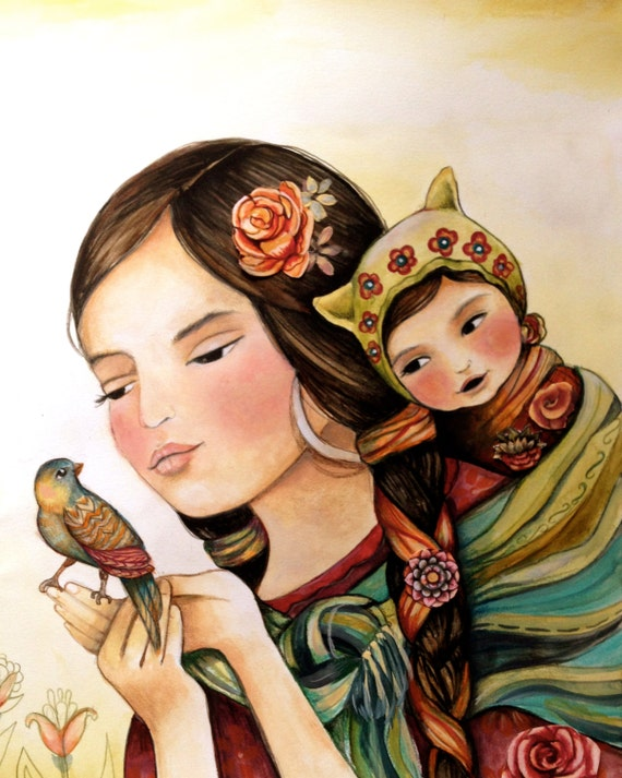Mother and child with bird art print
